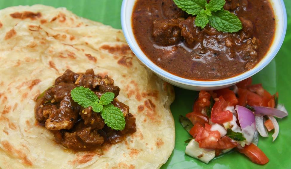 Kerala porotta with beef chukka