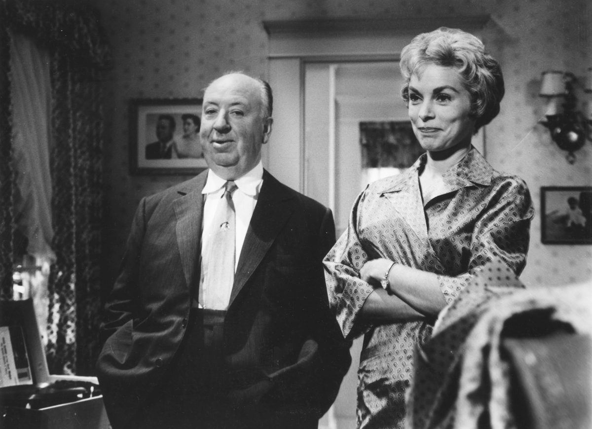 Alfred Hitchcock and Vera Miles in Psycho